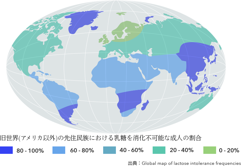 Proportion of adults incapable of digesting lactose among indigenous peoples of the Old World (excluding America) Source : Global map of lactose intolerance frequencies