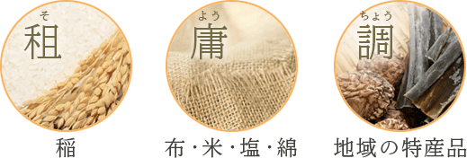 Rice subject to so levy, Cloth, rice, salt, and cotton subject to yō levy, Regional specialties subject to chō levy